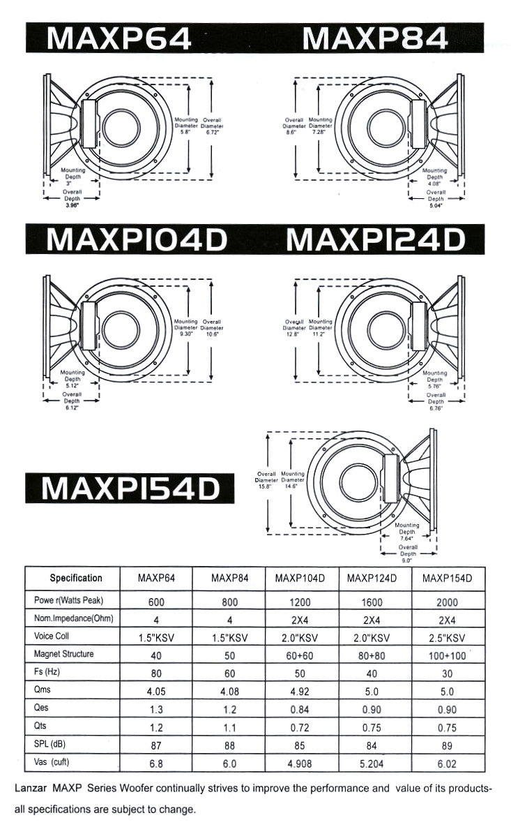 Lanzar Maxp64 Max Pro 65 Inch 600w Small Enclosure 4 Ohm Subwoofer 800 Wiring Diagram For Robert Installation Specifications