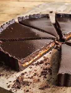 Chocolate–dulce de leche tart