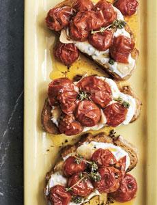 Cherry tomato crostini with homemade herbed goat cheese