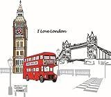 Pegatina de pared adhesivo Londres con autobus color rojo