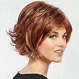 GSP-moda afuera alas marrones peluca rizada corta curva naturales, brown