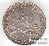 Francia km-No..: 844 1913 Stgl./unzirkuliert Plata 1913 1 Franc Sembrador