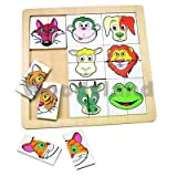 PUZZLE Minipuzzle Legespiel ANIMALES Holzpuzzle MADERA Juguetes de madera Kinderland