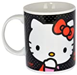 Hello Kitty - Taza regular de porcelana, color negro (United