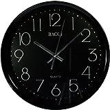 Reloj de pared analógico redondo - Esfera negra - Movimiento