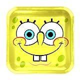 Procos 2350-Spongebob platos papel cuadrados, 8unidades, amarillo
