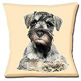 """alemán-Figura de perro Schnauzer miniatura Perro Photo Print cream-16""""(40cm) almohada"""