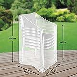 Klassik Schutzhülle für Stapelstühle/Gartenstühle aus PE-Bändchengewebe - transparent - von 'mehr Garten' - Größe XL