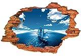 Rose-Summer 3D azul cielo mar velero casa decoración pared Sticker