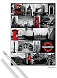 Póster + Soporte: Londres Póster (91x61 cm) Red Collage, Sights