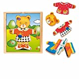 PUZZLE oso ANKLEIDEPUZZLE Jigsaw MADERA Legespiel Juguetes de madera