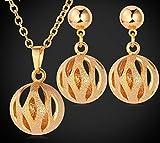 18K 750oro de joyas set collar y pendientes oro bolas
