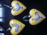3er Set Metall-Herz 3 D mit ausgesägtem Huhn gefüllt am Band (Größe 1) Dekoration Ostern Deko Fensterdekoration Anhänger