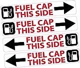 4x Tapa de llenado de combustible lado adhesivo tablero recordatorio