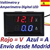 Voltimetro Amperimetro Digital Empotrable LED DC 0-100V Medidor Bateria Color