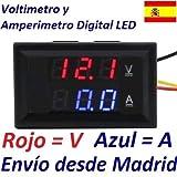 Voltimetro Amperimetro Digital Empotrable LED DC 0-100V Medidor Bateria Color