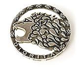 Diorita - Broche o alfiler de plata de ley redondo