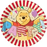 Procos 80497 - Platos Papel Winnie Alphabet (Ø20 cm), 8 unidades), multicolor
