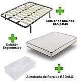 Pack Colchón eco18 + somier basic con patas + almohada