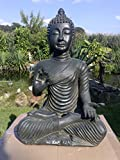 Nº 0832meditando Buda 48cm en negro/antracita Estatua Figura Escultura mano
