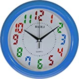 Reloj de pared analógico con esfera blanca y bisel azul