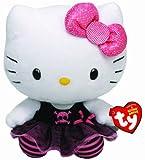 Hello Kitty - Peluche punk, 15 cm, color negro (TY