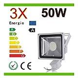Mcitymall® 3X50W Foco proyector con iluminación LED y sensor de