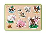 Janod - Fleurus, puzzle musical de madera, 7 piezas animales