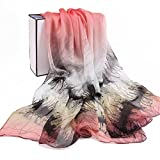 RUIRUI Pañuelo de seda 100% lujo satén mantón pintado gráfico
