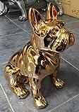 Bronce Cobre brillante acabado adorno de cachorro bulldog francés (22x