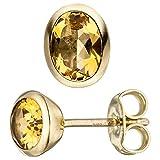 Par Pendientes De Oro Amarillo con citrino amarillo ovalado 585colgante