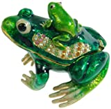 Green Frog Crystals Jewelry Trinket Ring Box