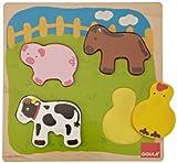 Goula - Puzzle animales, 4 piezas de madera (Diset 53014)