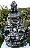 Nº 0814meditando Buda 65cm en color plateado Estatua Figura Escultura