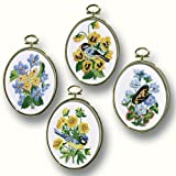 Janlynn Embroidery Kit, 4-1/4-Inch by 3-1/4-Inch, Birds and Butterflies, Set