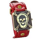 Jewelrywe Reloj de pulsera Mujer Hombre Esfera Cráneo, Reloj punk