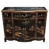 Negro Lacado Pintado A Mano Arte Aparador Oriental Muebles China