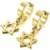 MunkiMix Acero Inoxidable Semental Aro Hoop Huggie Pendientes Oro Dorado