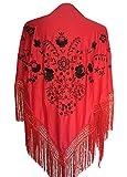La Señorita Mantones bordados Flamenco Manton de Manila rojo negro