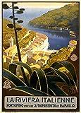 Italia La Riviera Italienne, 1920, Reproducción sobre Calidad 200gsm de