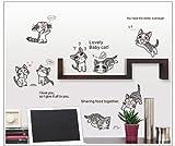 Lovely Baby Cat Cita Ocho jugando Gatos DIY extraíble adhesivo