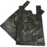 "100color negro plástico Polietileno chaleco estilo bolsas-talla 11x 17x 21""comestibles"