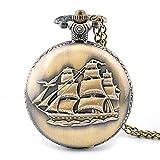 Reloj Vintage joyería reloj veleros tapa bolsillo jersey cadena reloj