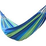Signstek Outdoor Garten-Leinwand Hängematte Reisen Camping 190 * 150cm für Doppel Zwei Person (Blau)