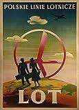 Polonia Polskie Linie Lotnicze, LOT, 1948, Reproducción sobre Calidad 200gsm