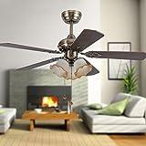 Ventilador LED Luz Lámpara ventilador de techo de estilo europeo