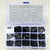 Negro Nailon M3serie hexagonal de tornillos tuerca arandela hexagonal 260pcs