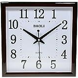 Reloj de pared analógico cuadrado - Esfera blanca - Movimiento