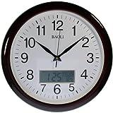 Reloj de pared analógico-digital Color madera Calendario y temperatura. Movimiento