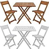 Balkonset Akazie Weiß 2 Stühle 1 Tisch klappbar - Bistroset Gartenmöbel Sitzgruppe